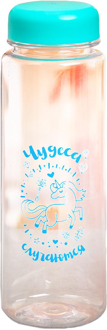 Бутылка для воды Чудеса случаются, цвет: голубой, прозрачный, 500 мл бутылка для воды my bottle в чехле цвет голубой 500 мл