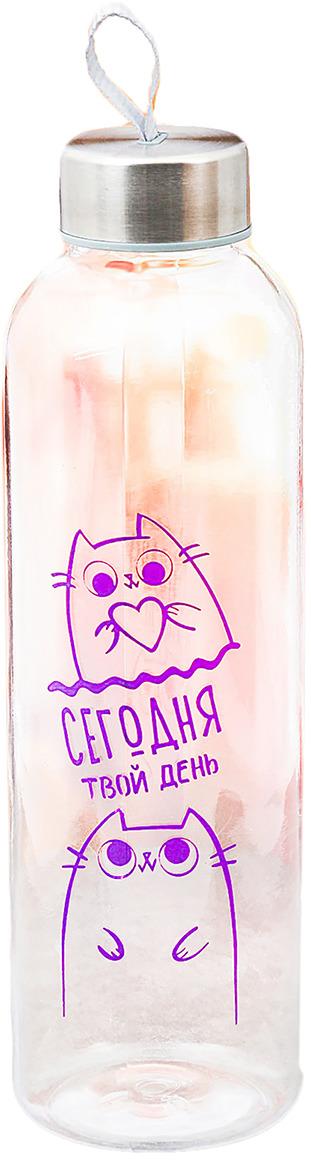 Бутылка для воды Командор Сегодня твой день, цвет: прозрачный, фиолетовый, 500 мл бутылка для воды sistema цвет фиолетовый 350 мл