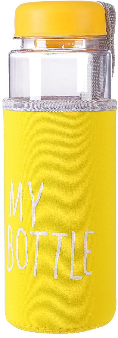 Бутылка для воды My Bottle, в чехле, цвет: желтый, 500 мл бутылка для воды my bottle градиент в мешке цвет желтый 500 мл