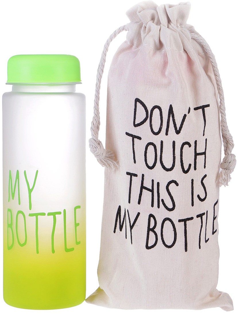 Бутылка для воды My Bottle, градиент, в мешке, цвет: зеленый, 500 мл бутылка для воды my bottle градиент в мешке цвет желтый 500 мл