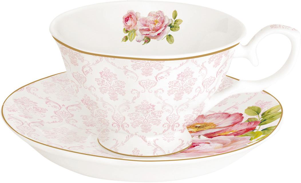 Чайная пара Easy Life Дамасская роза, цвет: розовый, 200 мл. EL-R0356/FLDA r2s