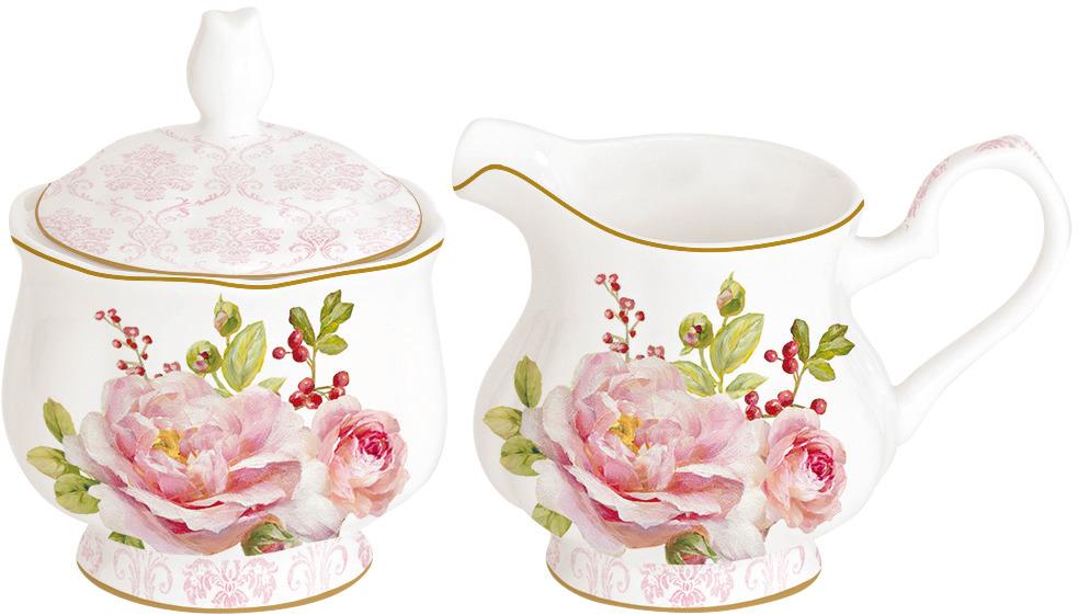 Набор сахарница и молочник Easy Life Дамасская роза, цвет: розовый, 200 мл. EL-R0373/FLDA r2s