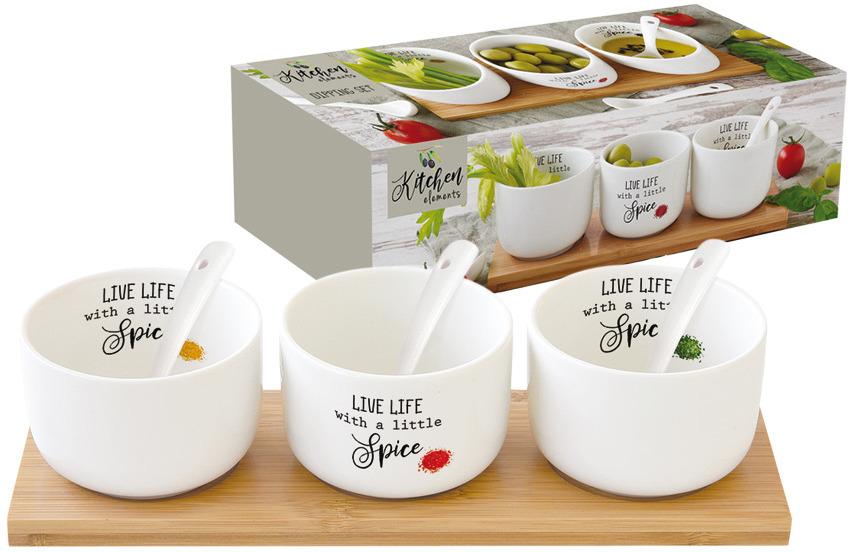Набор для закуски Easy Life Kitchen Elements: салатник, 8 см, 175 мл, 3 шт + ложки, 3 шт. EL-R0851/KITE