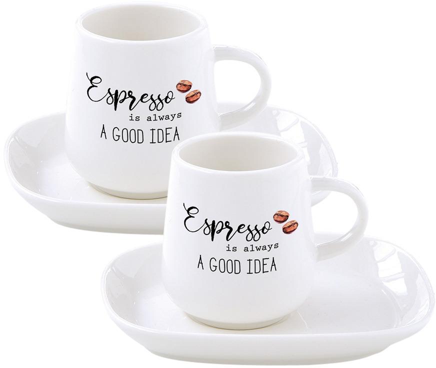Набор кофейный Easy Life Kitchen Elements: чашка, 100 мл, 2 шт + блюдце, 2 шт. EL-R1905/KITE r2s