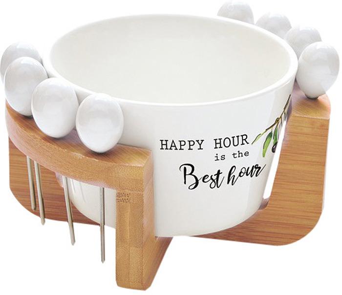 Набор для закуски Easy Life Kitchen Elements: чаша для оливок + шпажки на подставке, 8 шт. EL-R0850/KITE