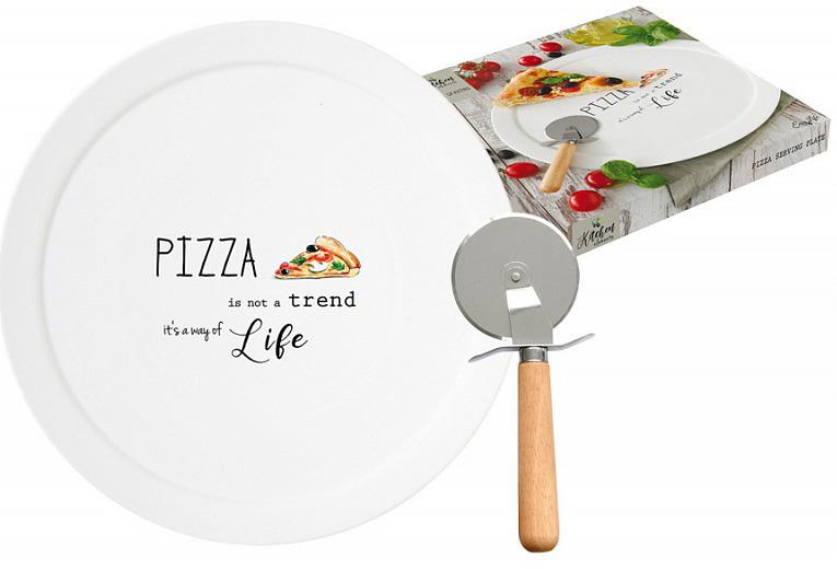Набор для пиццы Easy Life Kitchen Elements: блюдо, диаметр 36 см + нож. EL-R1919/KITEEL-R1919/KITEИтальянская компанияEasy Life(«Nuova R2S») - является лидером производства кухонной посуды и аксессуаров для дома в Италии. Центральный офис компании находится в Италии, производство расположено в Италии и Китае. Концепция выпускаемой продукции заключается в создании единой дизайнерской линии предметов сервировки стола, оформления интерьера кухни или столовой комнаты. Вся продукция производится из современных и экологически чистых материалов: фарфора, стекла, пластика и дерева. Продукция компанииEasy Life(«Nuova R2S») отличается современным дизайном, и легкостью в эксплуатации. Компания работает в тесном сотрудничестве с лучшими итальянскими художниками и дизайнерами. Важным преимуществом этой фабрики, является оригинальная подарочная упаковка. Продукция компанииEasy Life(«Nuova R2S») не только современный подарок и украшение для Вашего дома, но и всегда неисчерпаемое количество идей на Вашей кухне.