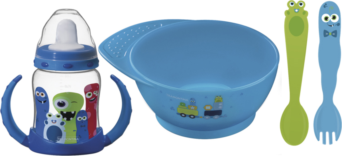 Набор детских столовых приборов Tramontina Monsterbaby, цвет: голубой, 4 предмета набор детских столовых приборов bekker 4 предмета