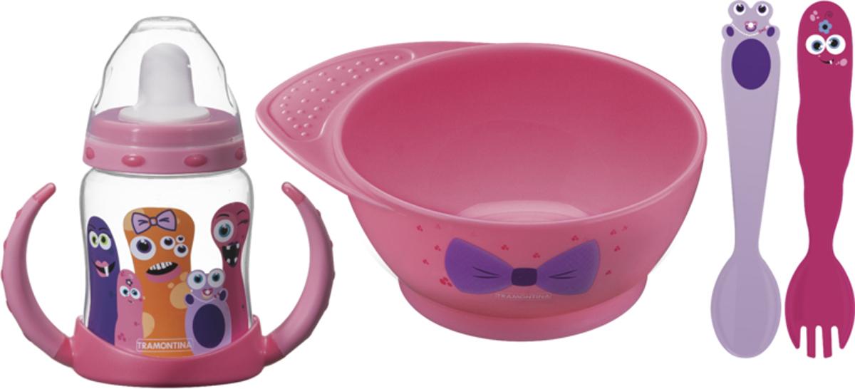 Набор детских столовых приборов Tramontina Monsterbaby, цвет: розовый, 4 предмета набор детских столовых приборов bekker 4 предмета