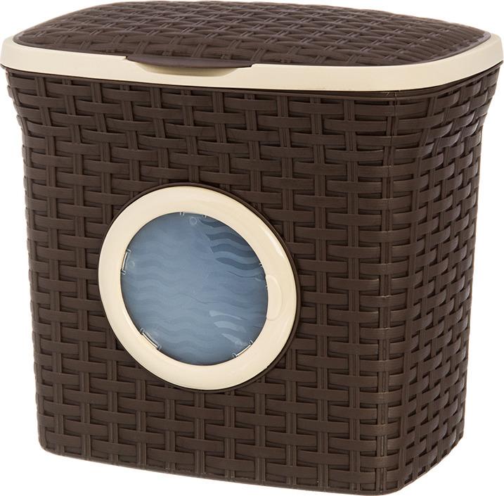 Контейнер для стирального порошка Violet Ротанг, с иллюминатором, цвет: коричневый, 10 л контейнер для стирального порошка violet 2111 2 ротанг бежевый