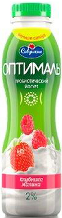 Йогурт Савушкин Оптималь, клубника, малина, 2%, 415 мл4810268024351Всегда из свежего молока