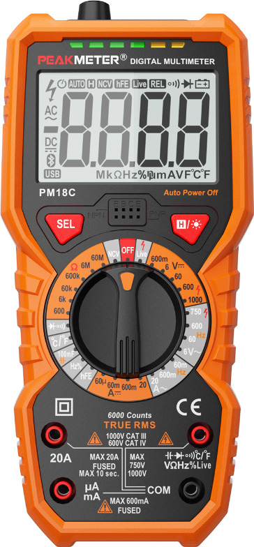 Мультиметр Peakmeter PM18C, цифровой, 17117, оранжевый, черный цена