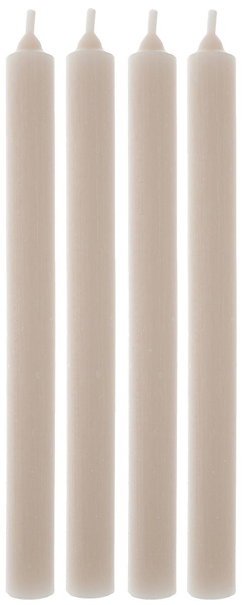 Набор свечей Омский cвечной завод, цвет: бежевый, высота 23,5 см, 4 шт набор декоративных свечей омский свечной завод цвет синий высота 24 см 2 шт