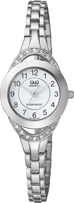Часы наручные женские Q & Q, цвет: серебристый. F581-204 все цены