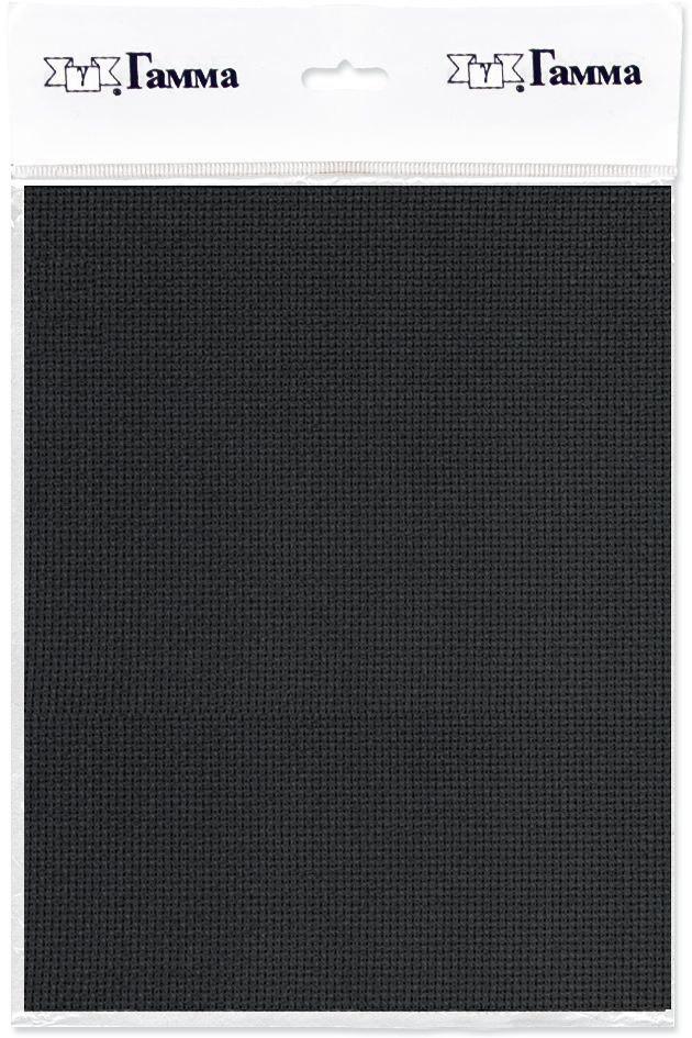 Канва для вышивки Gamma Aida №18, цвет: черный, 50 х 50 см. K18