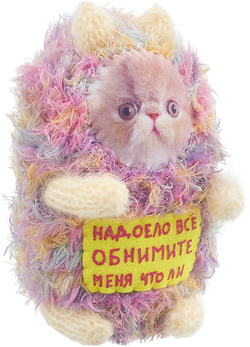 """Мягкая игрушка Бюро находок """"Котик. Надоело все"""", цвет: розовый, белый, 15 см"""