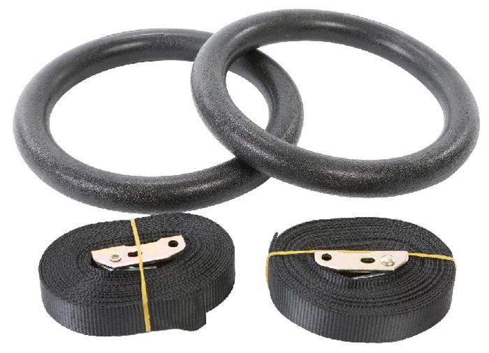 Кольца гимнастические Indigo, пластиковые, на стропах, диаметр 18 см Indigo
