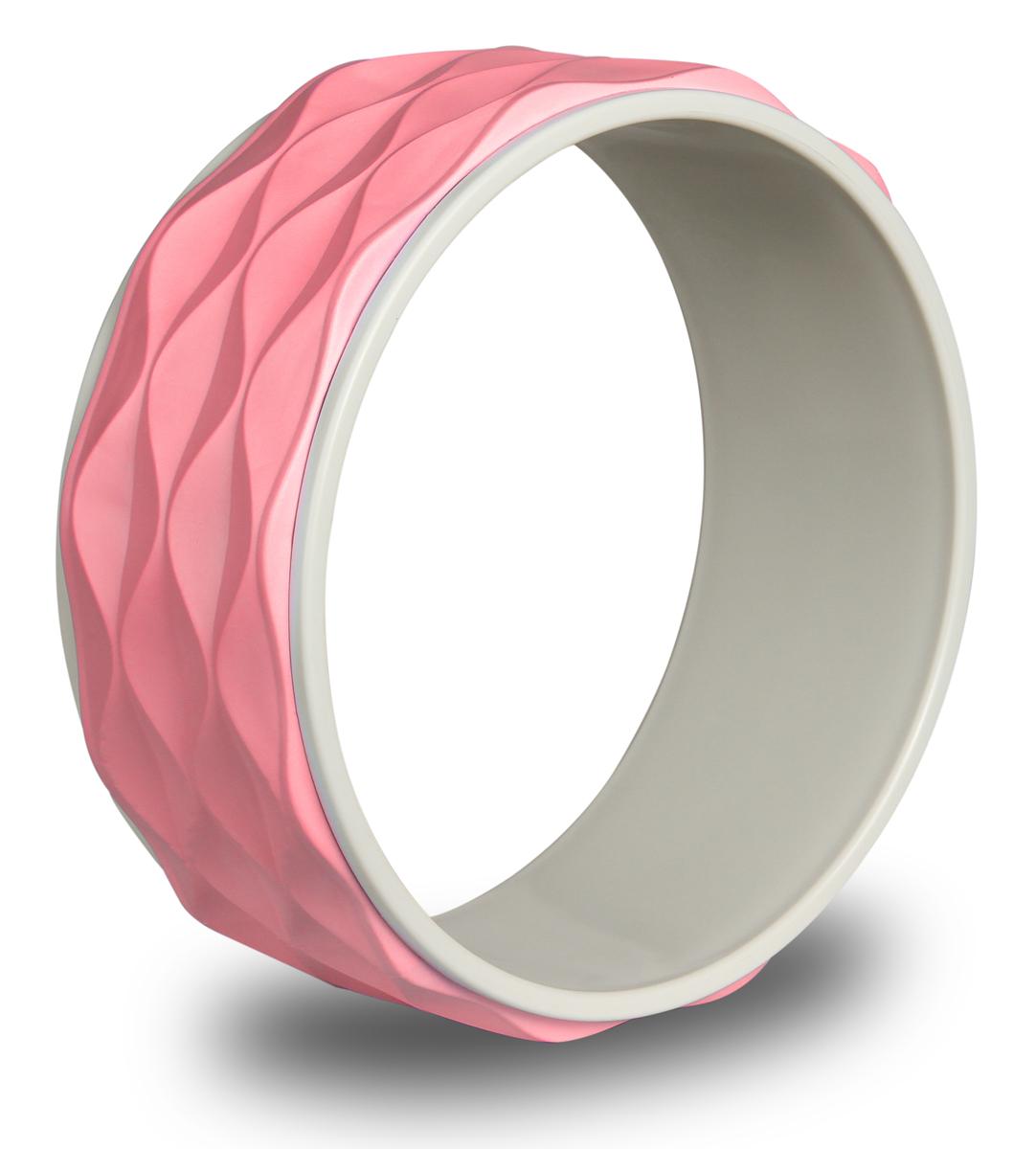 Колесо для йоги Indigo, рифленое, цвет: розовый, диаметр 34 см колесо для йоги indigo цвет розовый черный диаметр 32 см