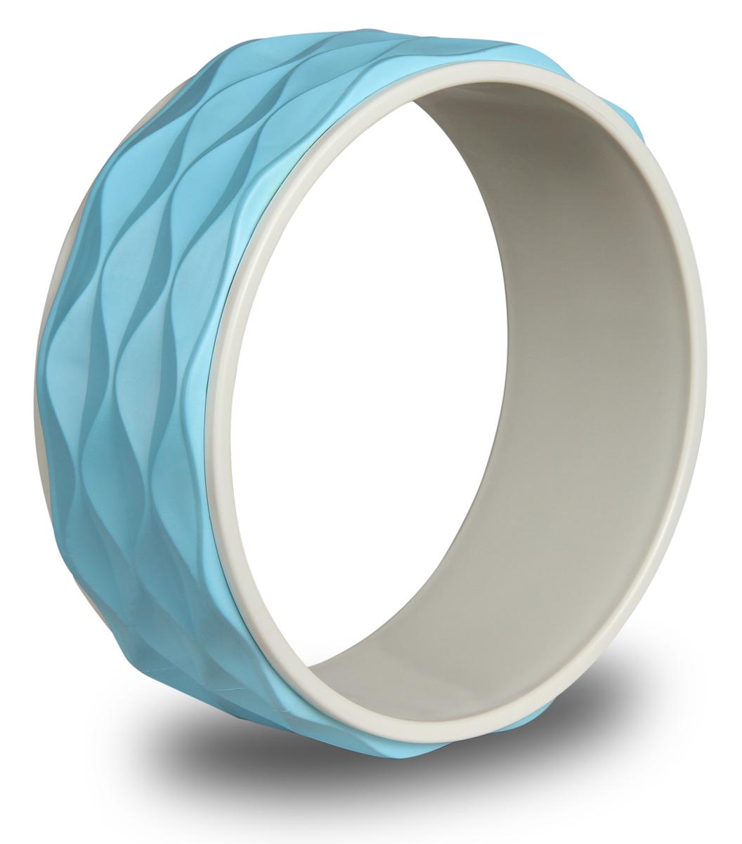 Колесо для йоги Indigo, рифленое, цвет: голубой, диаметр 34 см колесо для йоги indigo цвет розовый черный диаметр 32 см