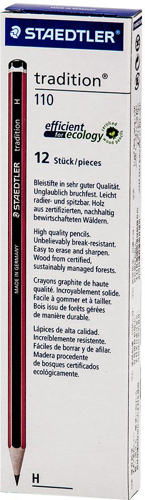 Набор чернографитовых карандашей Staedtler Tradition 110 H, 12 шт карандаш h это мягкий или твердый