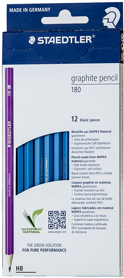 Набор чернографитовых карандашей Staedtler Wopex HB, цвет корпуса: голубой, 12 шт