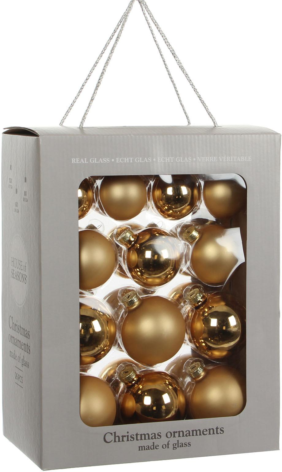 цена на Набор елочных игрушек House of Seasons Шар, цвет: золотой, диаметр 5 см, 6 см, 7 см, 26 шт. 83121 (1028673)