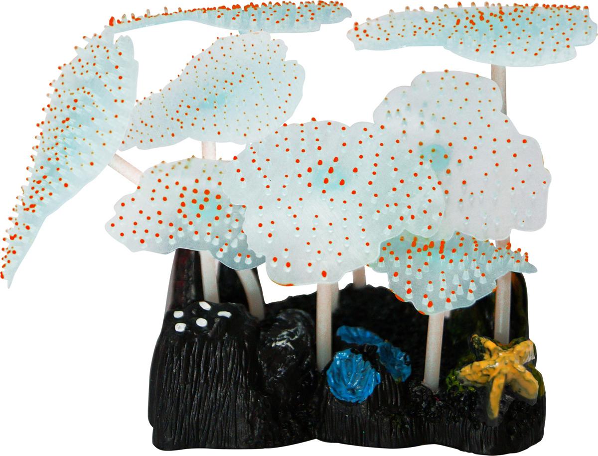 Декорация для аквариума Jelly-Fish Морской Гриб, силиконовая, светящаяся, цвет: оранжевый, 9,8 х 7,5 х 11 см декорация для аквариума jelly fish коралл светящаяся силиконовая цвет разноцветный 8 5 х 7 х 9 5 см