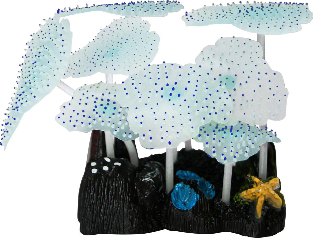 Декорация для аквариума Jelly-Fish Морской Гриб, силиконовая, светящаяся, цвет: голубой, 9,8 х 7,5 х 11 см декорация для аквариума jelly fish коралл светящаяся силиконовая цвет разноцветный 8 5 х 7 х 9 5 см