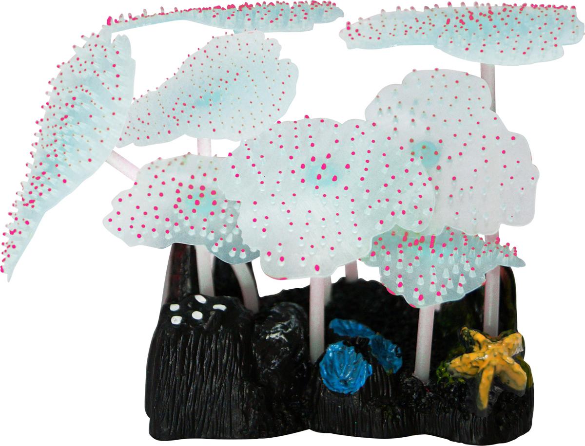 Декорация для аквариума Jelly-Fish Морской Гриб, силиконовая, светящаяся, цвет: розовый, 9,8 х 7,5 х 11 см декорация для аквариума jelly fish коралл светящаяся силиконовая цвет разноцветный 8 5 х 7 х 9 5 см