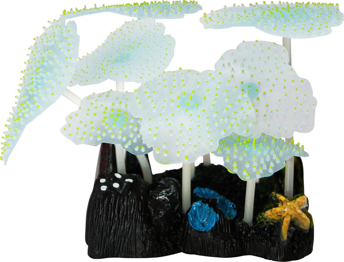 Декорация для аквариума Jelly-Fish Морской Гриб, силиконовая, светящаяся, цвет: желтый, 9,8 х 7,5 х 11 см декорация для аквариума jelly fish коралл светящаяся силиконовая цвет разноцветный 8 5 х 7 х 9 5 см