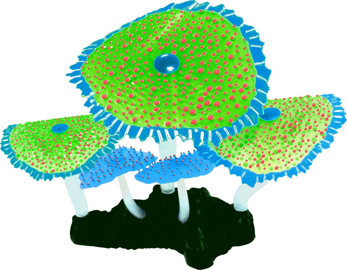Декорация для аквариума Jelly-Fish Морской Гриб, светящаяся, цвет: зеленый, 14 х 6,5 х 12 см декорация для аквариума jelly fish актиния с рыбой дори с эффектом пузырьков цвет радужный 11 х 8 х 14 5 см