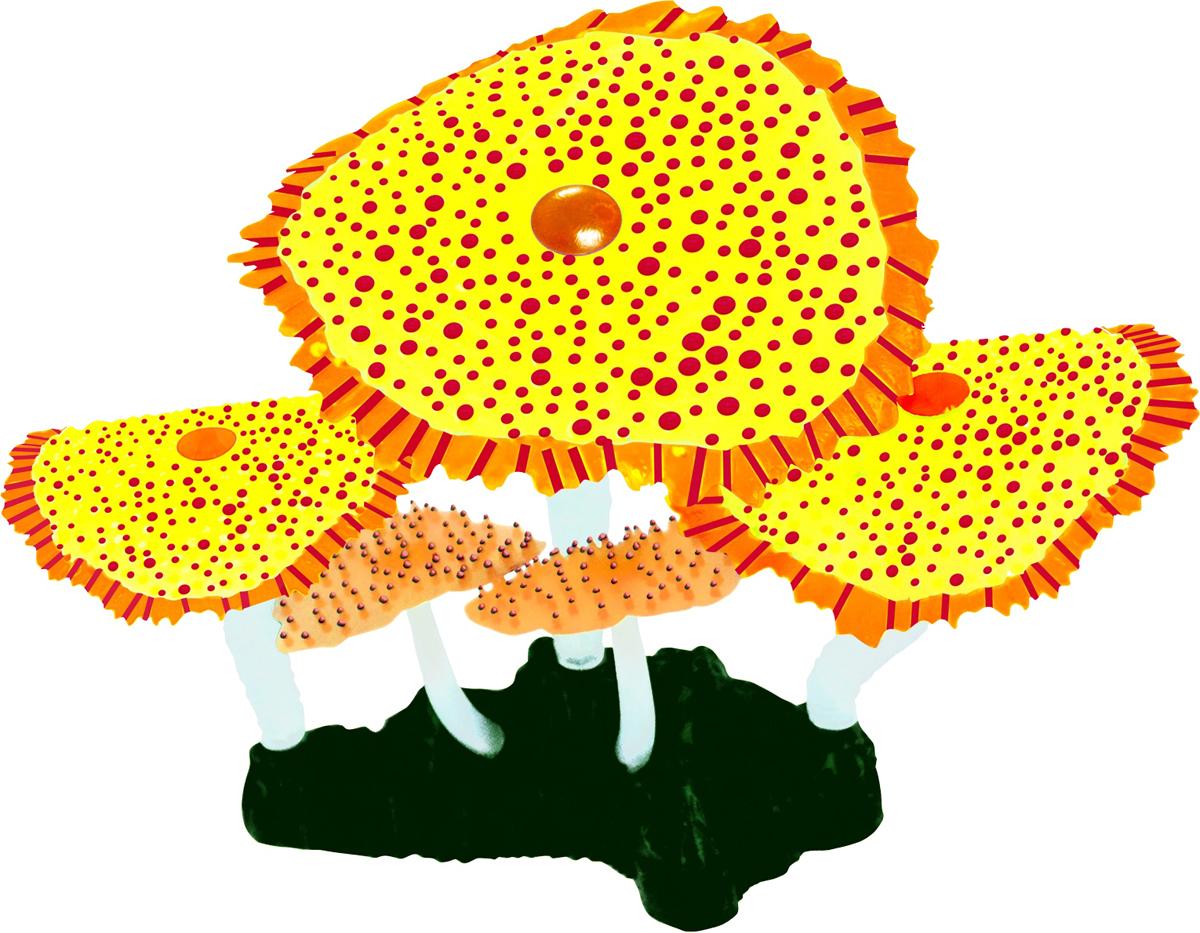 Декорация для аквариума Jelly-Fish Морской Гриб, светящаяся, цвет: желтый, 14 х 6,5 12 см