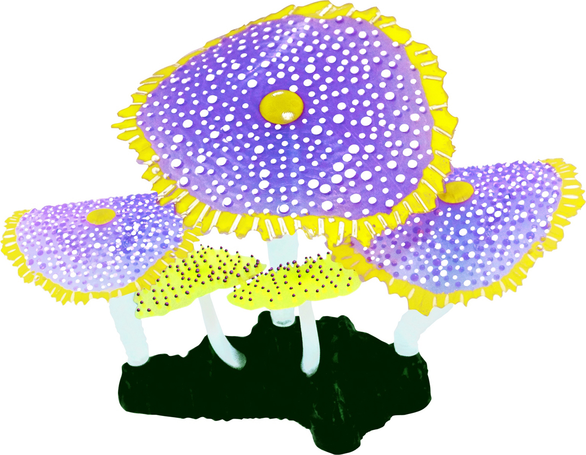 Декорация для аквариума Jelly-Fish Морской Гриб, светящаяся, цвет: фиолетовый, 14 х 6,5 х 12 см декорация для аквариума jelly fish актиния с рыбой дори с эффектом пузырьков цвет радужный 11 х 8 х 14 5 см