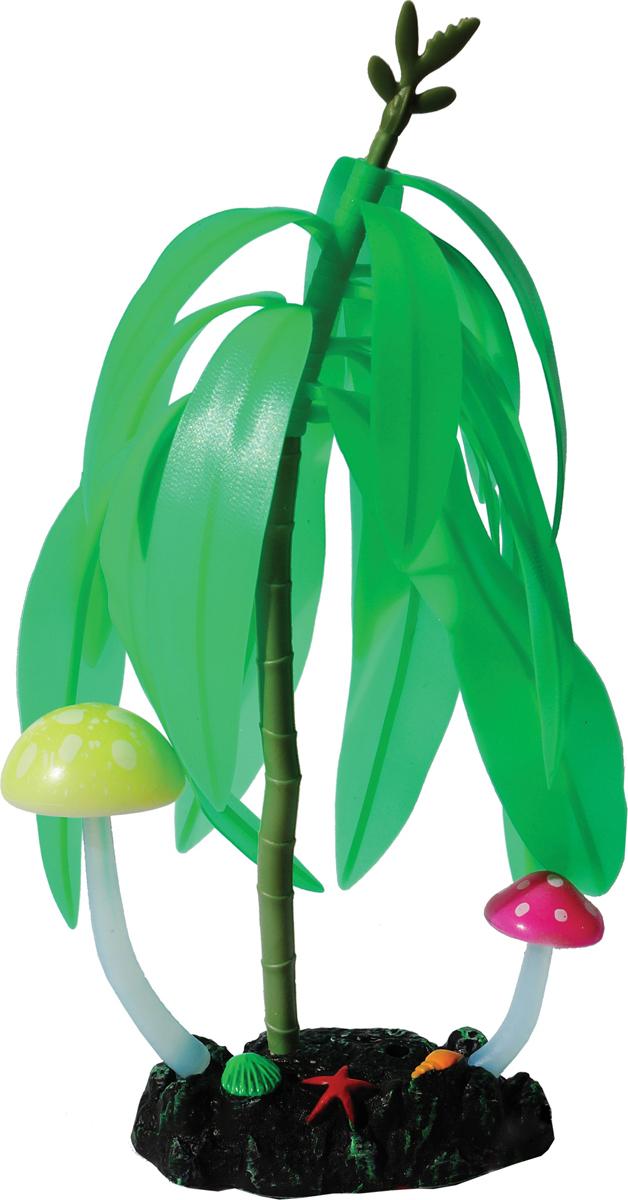 Декорация для аквариума Jelly-Fish Дерево с грибами, светящаяся, цвет: зеленый, 14 х 7 21 см