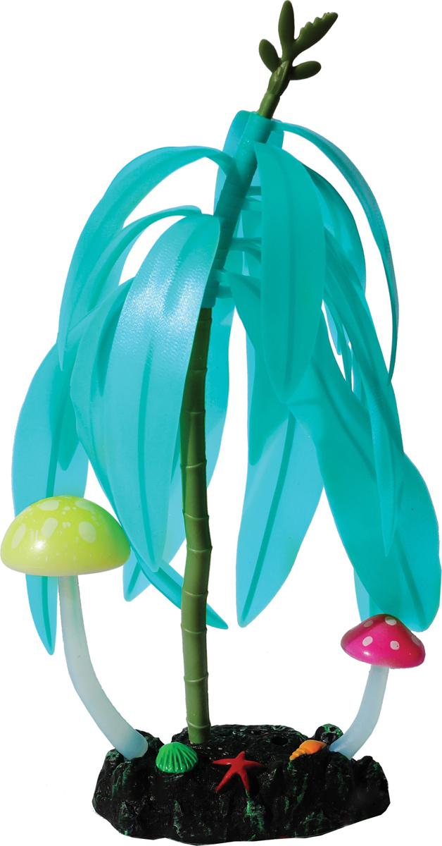 Декорация для аквариума Jelly-Fish Дерево с грибами, светящаяся, цвет: голубой, 14 х 7 21 см