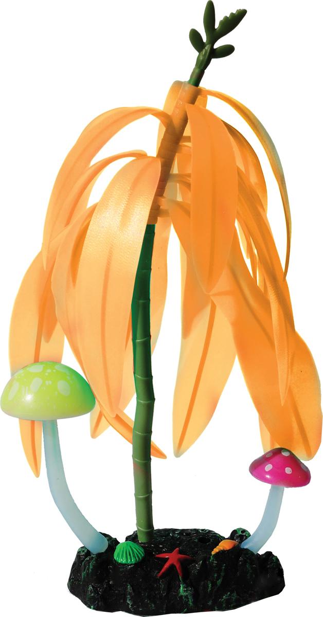 Декорация для аквариума Jelly-Fish Дерево с грибами, светящаяся, цвет: оранжевый, 14 х 7 21 см