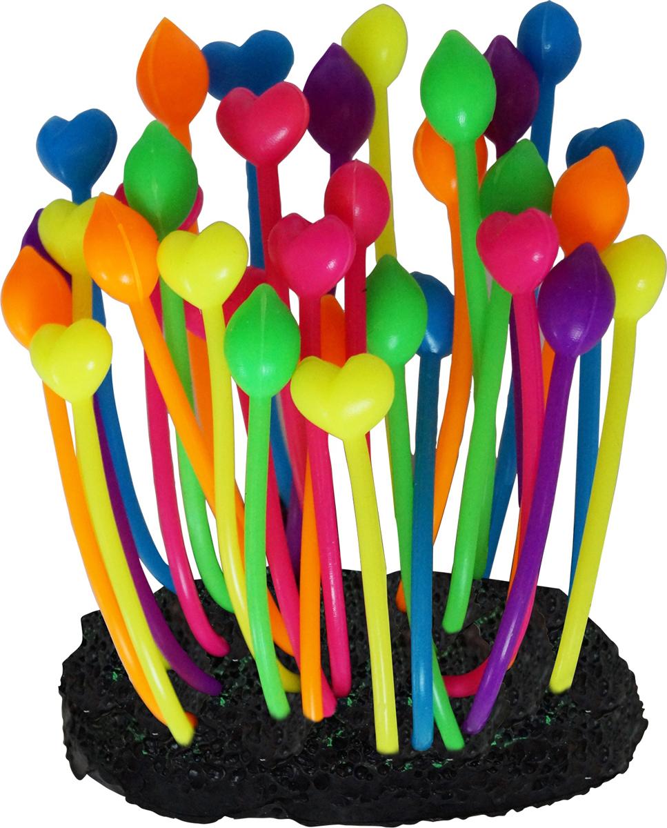 Декорация для аквариума Jelly-Fish Коралл, светящаяся, силиконовая, цвет: разноцветный, 8,5 х 7 х 9,5 см декорация для аквариума jelly fish коралл светящаяся силиконовая цвет разноцветный 8 5 х 7 х 9 5 см