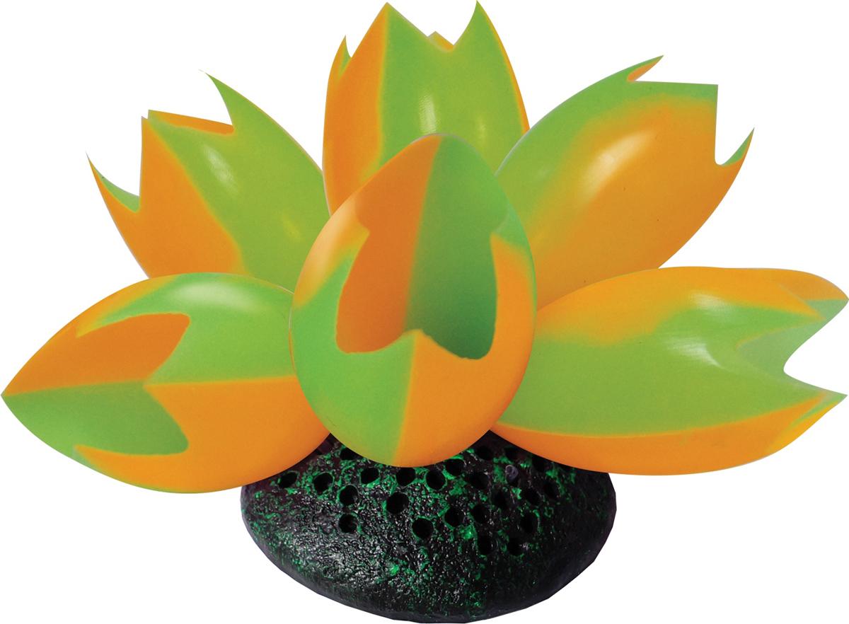 Декорация для аквариума Jelly-Fish Лотос, светящаяся, цвет: оранжевый, 8 х 7 х 9,5 см декорация для аквариума jelly fish коралл светящаяся силиконовая цвет разноцветный 8 5 х 7 х 9 5 см