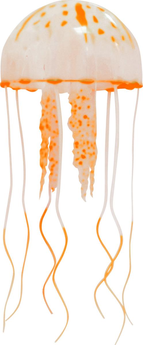Декорация для аквариума Jelly-Fish Медуза, силиконовая, с неоновым эффектом, цвет: оранжевый, диаметр 5 см рыба силиконовая jelly fish скат с неоновым эффектом