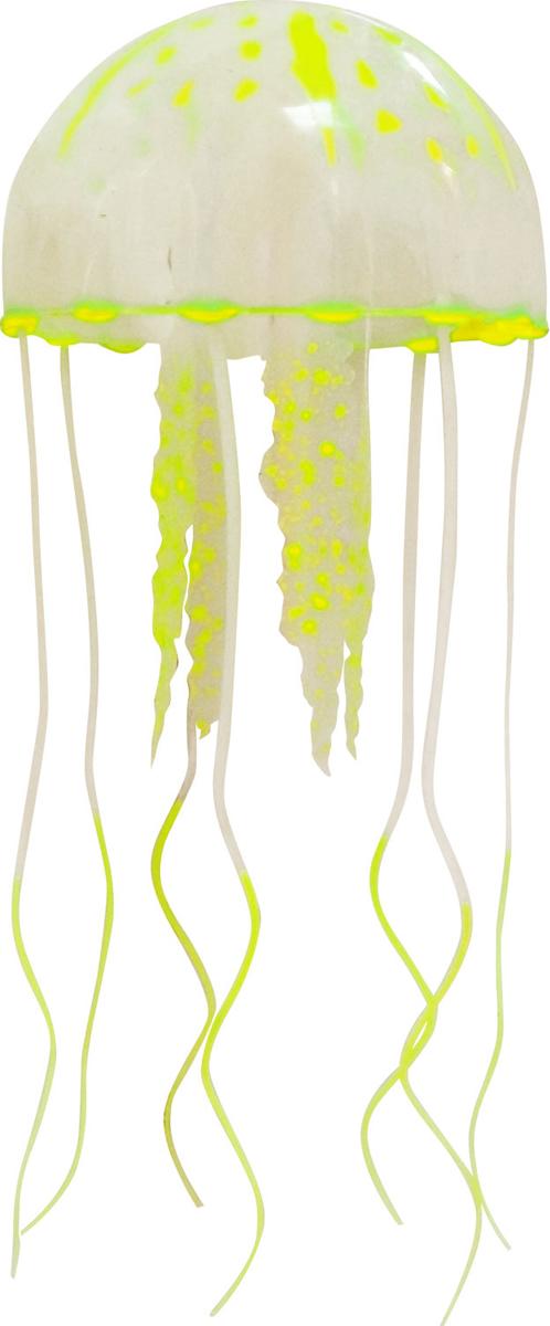 Декорация для аквариума Jelly-Fish Медуза, силиконовая, с неоновым эффектом, цвет: желтый, диаметр 3,5 см рыба силиконовая jelly fish скат с неоновым эффектом