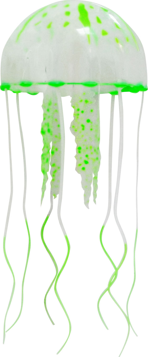 Декорация для аквариума Jelly-Fish Медуза, силиконовая, с неоновым эффектом, цвет: зеленый, диаметр 10 cм рыба силиконовая jelly fish скат с неоновым эффектом