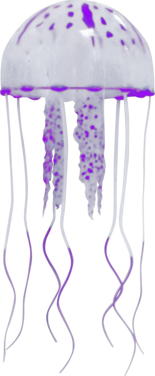 Декорация для аквариума Jelly-Fish Медуза, силиконовая, с неоновым эффектом, цвет: фиолетовый, диаметр 7,5 cм рыба силиконовая jelly fish скат с неоновым эффектом