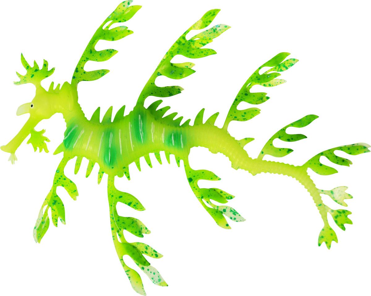 Декорация для аквариума Jelly-Fish Морской дракон, силиконовая, светящаяся в темноте, цвет: зеленый, 19 х 15 х 2 см декорация для аквариума jelly fish коралл светящаяся силиконовая цвет разноцветный 8 5 х 7 х 9 5 см