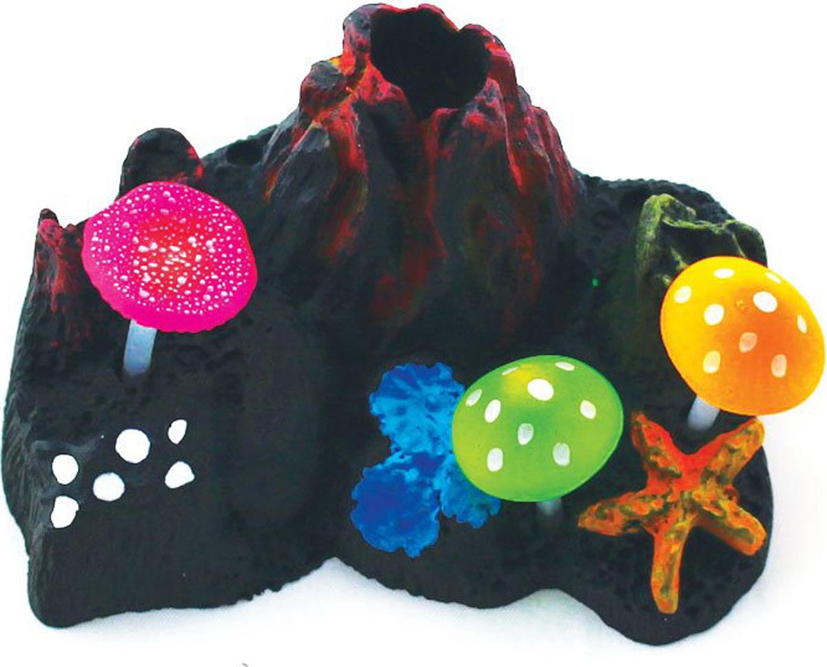 Декорация для аквариума Jelly-Fish Вулкан подводный, с неоновым эффектом, 9 х 7 х 6,5 см декорация для аквариума jelly fish актиния с рыбой дори с эффектом пузырьков цвет радужный 11 х 8 х 14 5 см