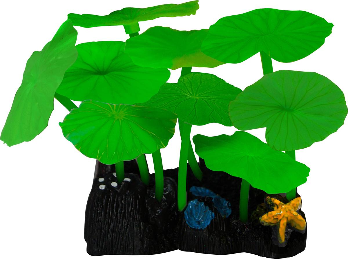 Декорация для аквариума Jelly-Fish Листья лотоса, силиконовая, цвет: зеленый, 9 шт декор для аквариумов jellyfish микс из растений силикон листья лотоса 2шт грибы 2шт 7х3 5х10см