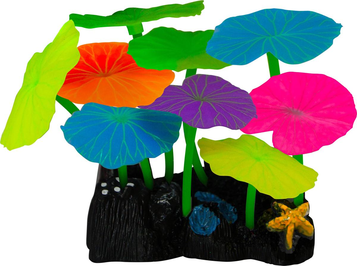 Декорация для аквариума Jelly-Fish Листья лотоса, силиконовая, цвет: разноцветный, 9 шт декор для аквариумов jellyfish микс из растений силикон листья лотоса 2шт грибы 2шт 7х3 5х10см