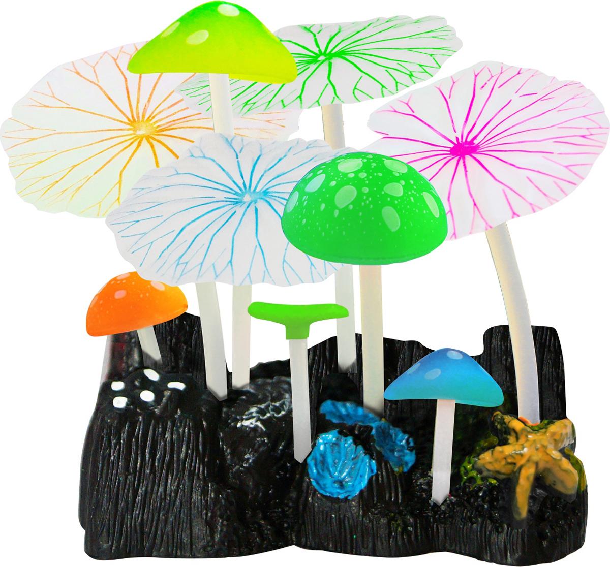 Декорация для аквариума Jelly-Fish Микс из растений, силиконовая, 9 шт. 8239 декор для аквариумов jellyfish микс из растений силикон листья лотоса 2шт грибы 2шт 7х3 5х10см