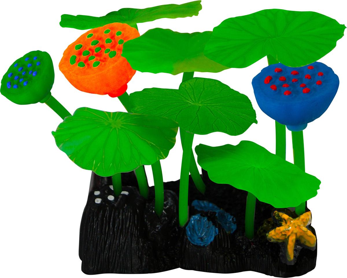 Декорация для аквариума Jelly-Fish Микс из растений, силиконовая, 9 шт. 8253 декор для аквариумов jellyfish микс из растений силикон листья лотоса 2шт грибы 2шт 7х3 5х10см