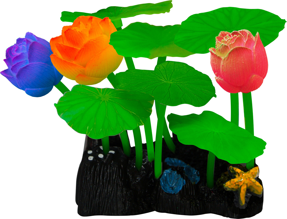 Декорация для аквариума Jelly-Fish Микс из растений, силиконовая, 9 шт. 8277 декор для аквариумов jellyfish микс из растений силикон листья лотоса 2шт грибы 2шт 7х3 5х10см