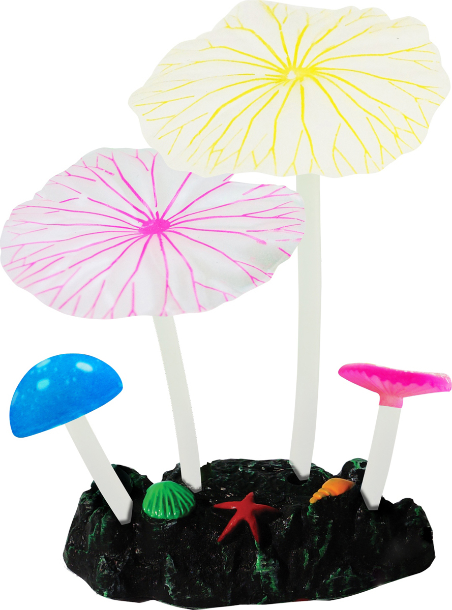 Декорация для аквариума Jelly-Fish Микс из растений, силиконовая, 4 шт декор для аквариумов jellyfish микс из растений силикон листья лотоса 2шт грибы 2шт 7х3 5х10см