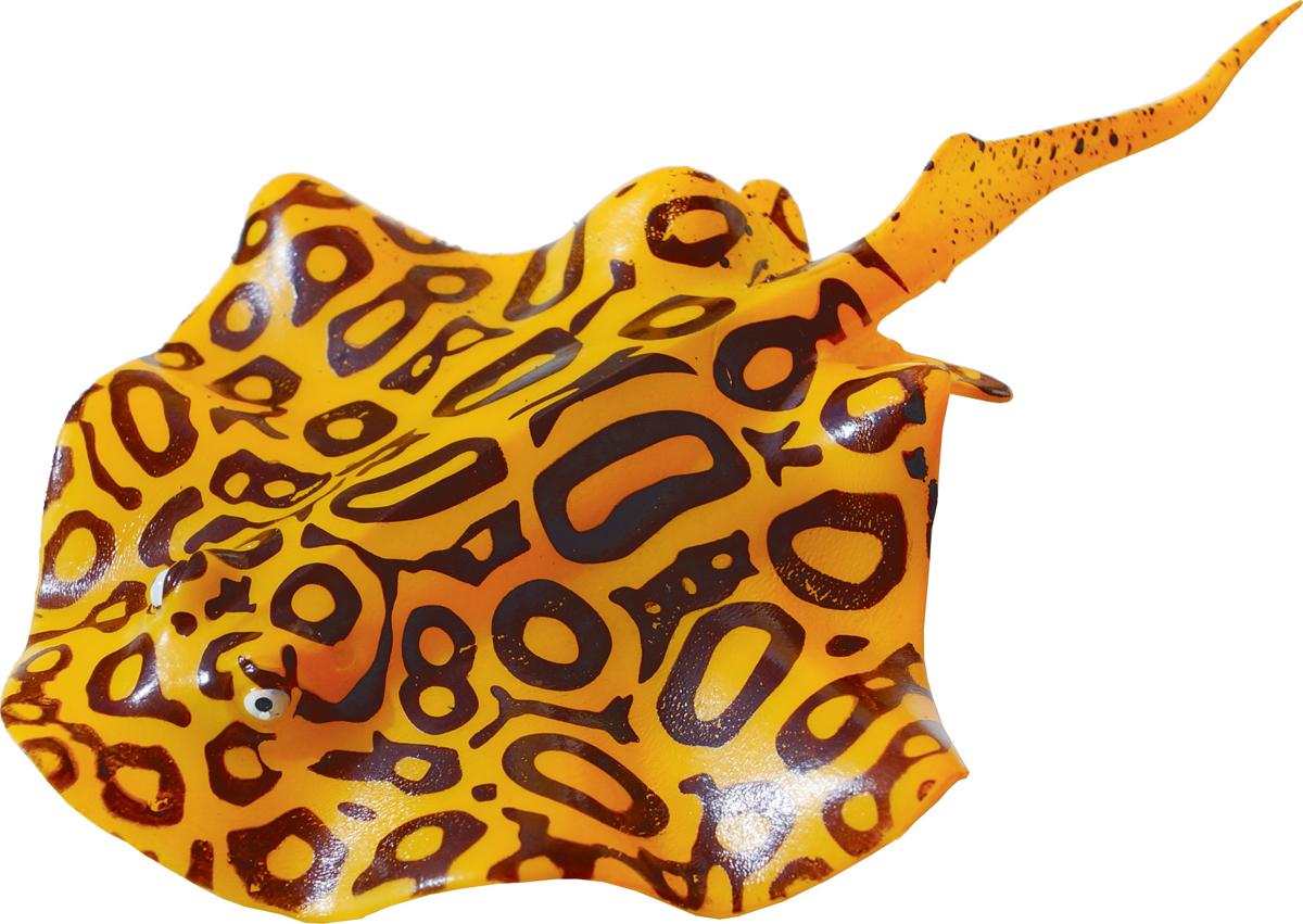 Декорация для аквариума Jelly-Fish Рыба Скат, силиконовая, с неоновым эффектом, цвет: желтый, 20 х 13 см декорация для аквариума jelly fish актиния с рыбой дори с эффектом пузырьков цвет радужный 11 х 8 х 14 5 см